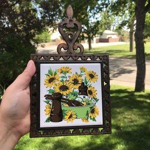 Vintage ceramic tile trivet retro sunflower